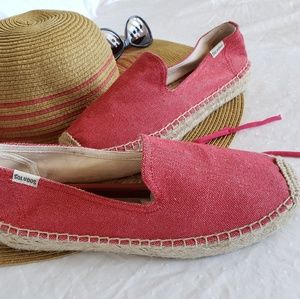 Soludos Red Canvas Flat Espadrilles